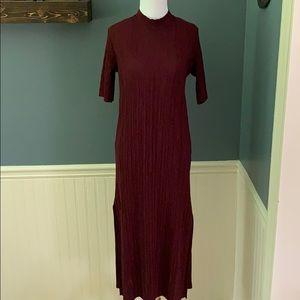 Zara W&B Ribbed Mock Neck Long Column Dress Small